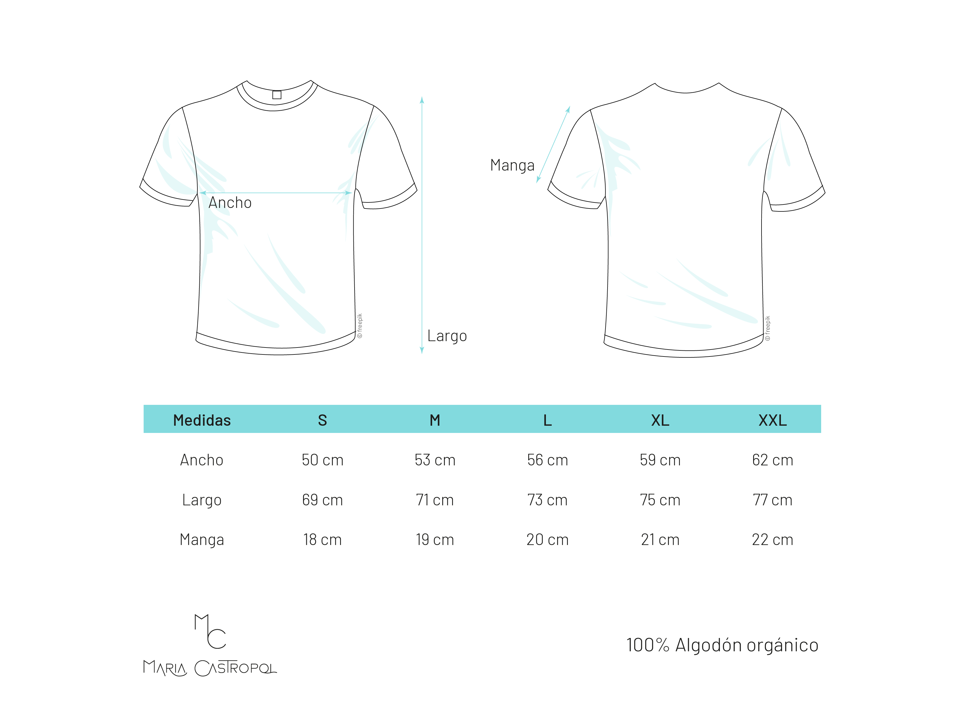 guía de tallas para camisetas